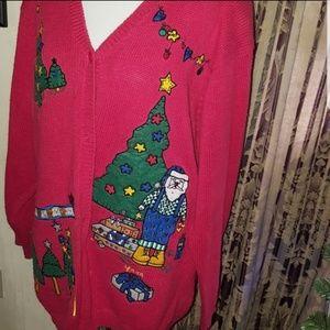 CARDIGAN UGLY CHRISTMAS SWEATER TREE QUACKER